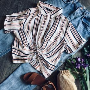 🦋Button Up Twist Strip Blouse🦋